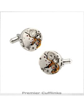 Steampunk Silver Watch Cufflinks
