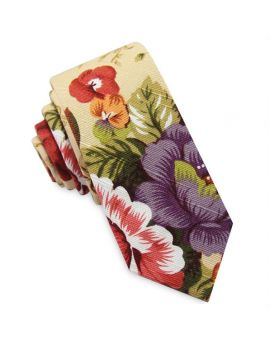 Tan with Multicoloured Flowers Men's Skinny Tie