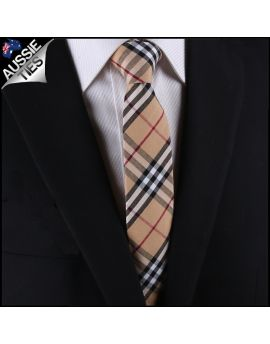Camel Thomson Tartan Plaid Slim Tie