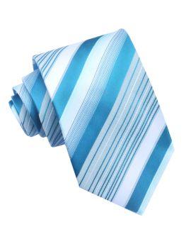 Turquoise & White Stripes Mens Tie
