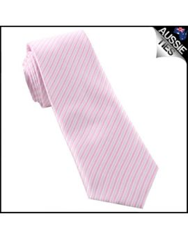 White & Baby Pink Thin Stripes Mens Necktie