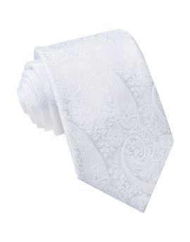 White Paisley Mens Tie