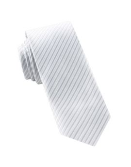 White & Silver Thin Stripes Mens Tie