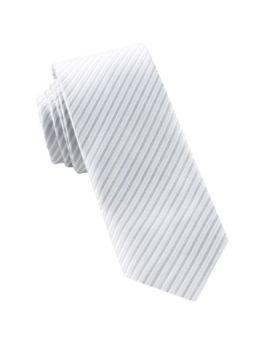 White & Silver Thin Stripes Mens Tie