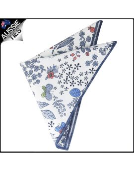 White with Blue, Red & Green Floral Pocket Square