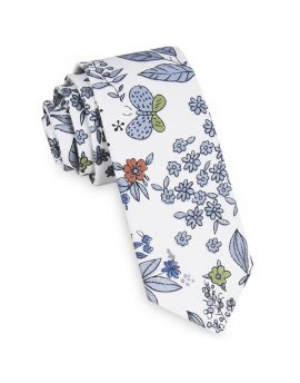 White with Blue, Red & Green Floral Skinny Tie