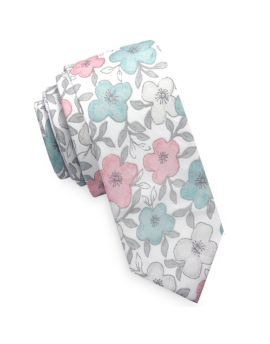 white with pastel floral skinny tie