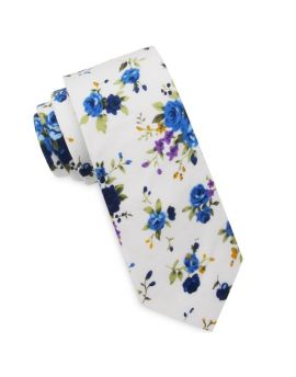 White with Purple & Blue Floral Men's Slim Tie