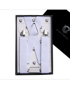 Men's White X3.5cm Large Braces Suspenders