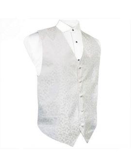 White on White Floral Waistcoat Vest