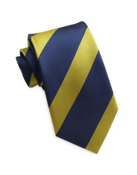 Wide Navy with Yellow Stripes Slim Tie