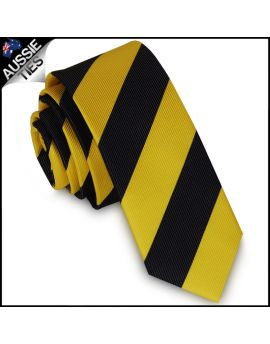 Mens Yellow & Black Stripes Skinny Tie