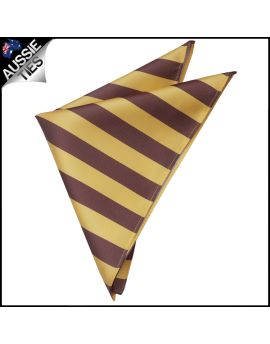 Mens Yellow & Brown Striped Pocket Square Handkerchief