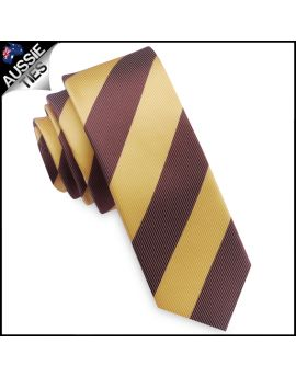 Mens Yellow & Brown Stripes Skinny Tie