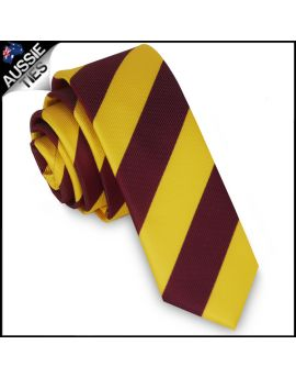 Mens Yellow & Maroon Stripes Skinny Tie