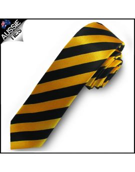 Yellow & Black Men's Striped Satin Skinny Tie