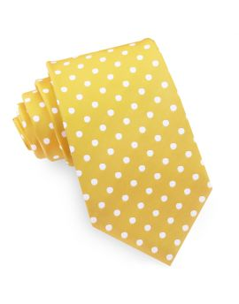 Yellow Polka Dot Mens Tie
