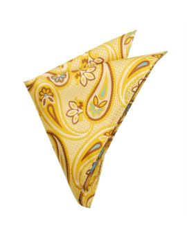 ivory, brown, yellow and blue floral pattern handkerchief