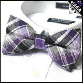 Black & Purple Tartan Bow Tie