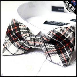 Black White & Red Tartan Bow Tie