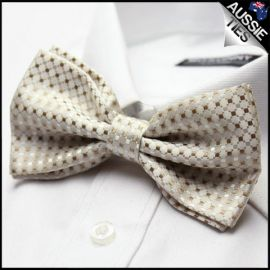 Gold and White Check Bow Tie