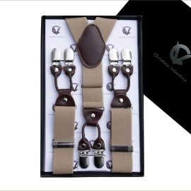 Beige with Leather Attachment Large Braces Y3.5cm