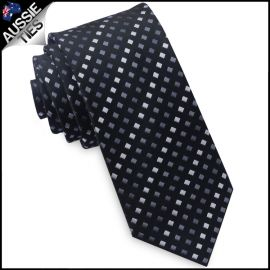 Black with Grey & White Squares Mens Skinny Tie