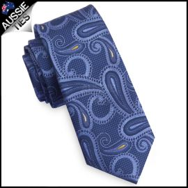 Blue and Yellow Paisley Mens Skinny Necktie
