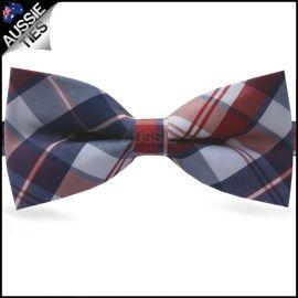 Blue, Red & White Tartan Bow Tie