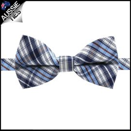 Boys Blue, White & Brown Plaid Bow Tie