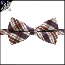 Boys Brown, Blue, Red & White Plaid Bow Tie