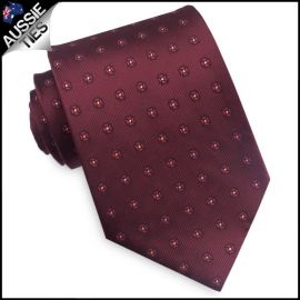 Burgundy with Red Floral Pattern Mens Tie