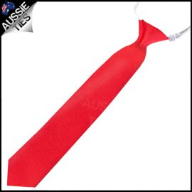 Boys Cherry Red Pre-Tied Elastic Necktie