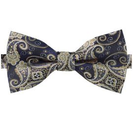 Dark Blue & Gold Paisley Bow Tie