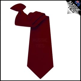 Mens Burgundy Red Clip On Necktie