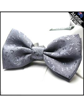 Light Silver Grey Textured Bow Tie