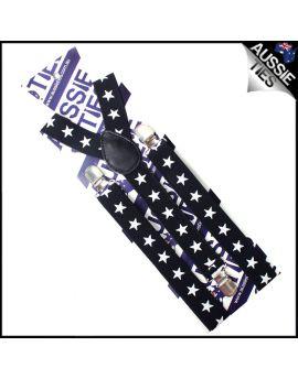 Black with Big White Star Braces Suspender
