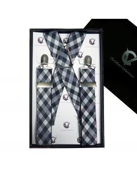 Black & White Check Large Braces X3.5cm