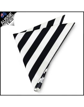 Mens Black & White Striped Pocket Square Handkerchief