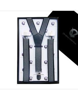 black and white stripes men's braces