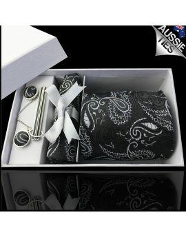 Black & White Paisley Tie Set