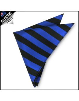 Mens Blue & Black Striped Pocket Square Handkerchief