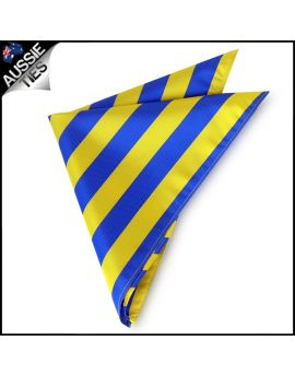 Mens Blue & Yellow Striped Pocket Square Handkerchief