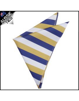 Mens Blue, Yellow & White Striped Pocket Square Handkerchief