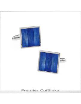 Blue Zigzag Textured Stripes Cufflinks