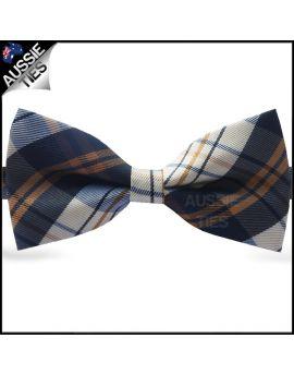 Brown, Blue & Grey Tartan Plaid Bow Tie