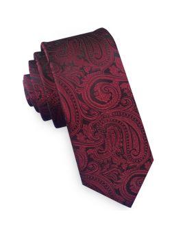 burgundy and black paisley skinny tie