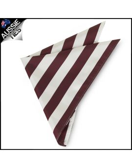Mens Burgundy & White Striped Pocket Square Handkerchief