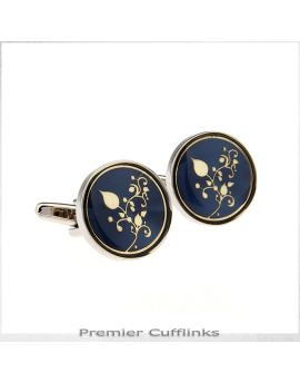 Dark Blue with Gold Filigree Cufflinks