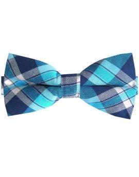 Dark Blue, Turquoise & White Tartan Bow Tie